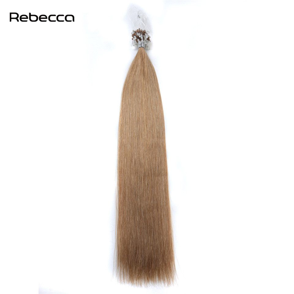 Brazilian Straight Non Remy hair Loop Micro Ring Hair Extensions 100 Real Human Hair Rebecca Hair