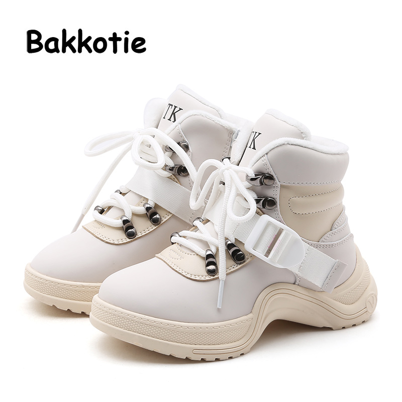 Bakkotie 2018 Winter Children High Casual Sneakers Kid Pu Leather Sport Shoes Baby Boy Warm Black Ankle Shoes Girl Brand Trainer 2018 baby girl boy shoes casual baby first walker shoes children shoes boys sneakers sport toddler boy loafers leather sneakers