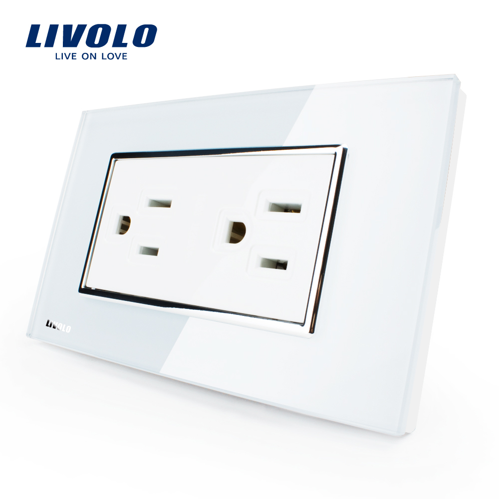 Livolo US Standard Power Socket, White/Black Crystal Glass, Wall Powerpoints Without Plug,VL-C3C2US-81/82 livolo us standard 2 pins socket white crystal glass 10a ac 125 230v wall powerpoints with plug vl c3c3a 81