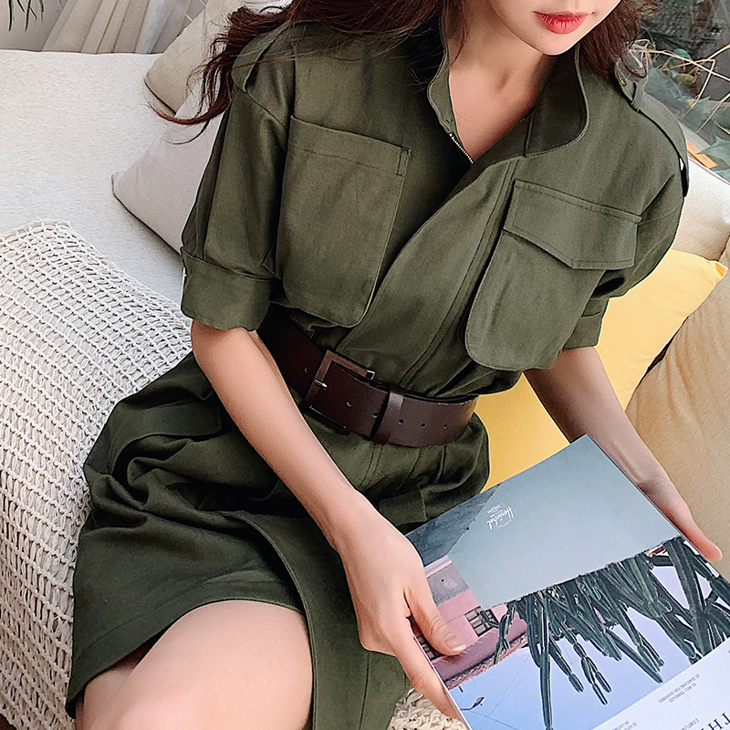 Dabuwawa frauen Baumwolle Casual Hohe Taille Armee Grün Kleid 2019 Neue Sommer Mode Charming Lose Zipper Kleid DN1BDR086-in Kleider aus Damenbekleidung bei  Gruppe 1
