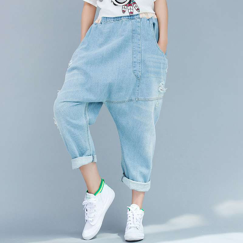 #3230 2017 Summer Casual Cross jeans women Baggy jeans women Denim harem pants Ladies ripped jeans Wide leg Distressed Hip hop