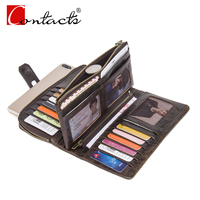 CONTACT S Fashion Genuine Leather Women Wallets Female Dress Wallet Red Purse Card Holder Long Wallets