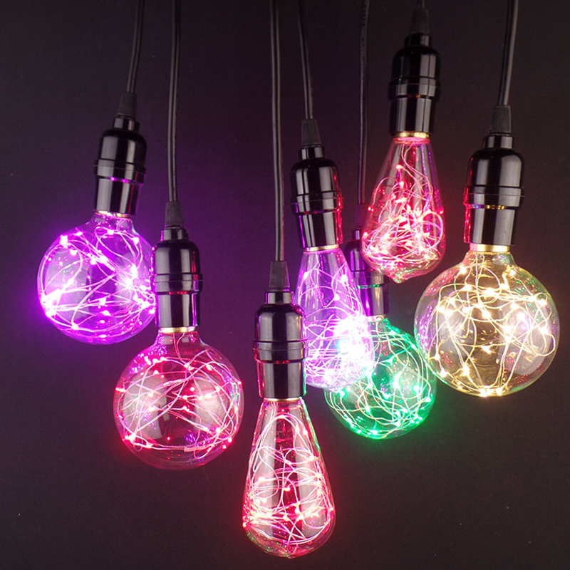 Vintage Edison Bulbs E27 LED RGB Colorful Light Christmas Xmas Bulb Retro Edison Light For Pendant Lamp