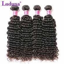 Luduna глубокий волна Малайзии пучки волос плетение Человеческие волосы Связки 1 шт./лот non-реми Наращивание волос можно купить 3 или 4 пучки