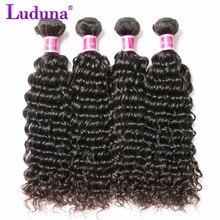 Luduna Hair Malaysian Deep Wave Hair Bundles 100% Human Hair Weave Non-remy Hair Natural Black Can Buy 3 Or 4 pcs Together