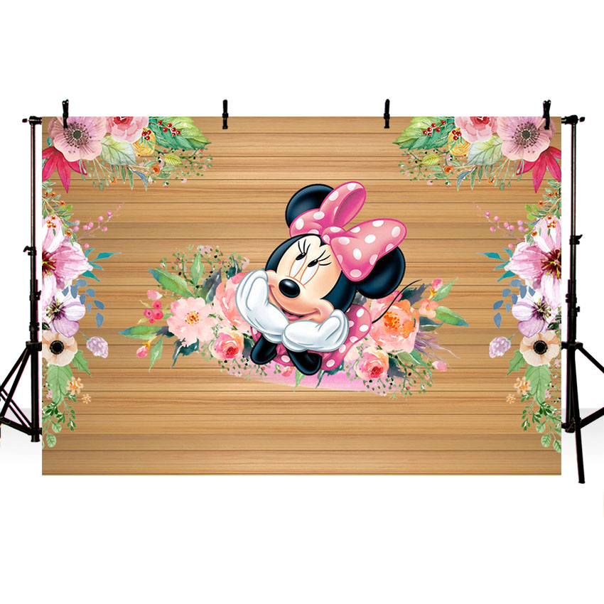 MEHOFOTO  Flower Pink Minnie Photography Backdrop For Birthday Party Wood Backgrounds For Photo Studio 7x5FT Vinyl