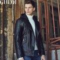 GUEQI Новый Мужчины Черные Кожаные Пальто Плюс Размер M-3XL ДОБАВИТЬ Руно Человек Мотоцикл С Капюшоном Куртки Шляпа Съемный