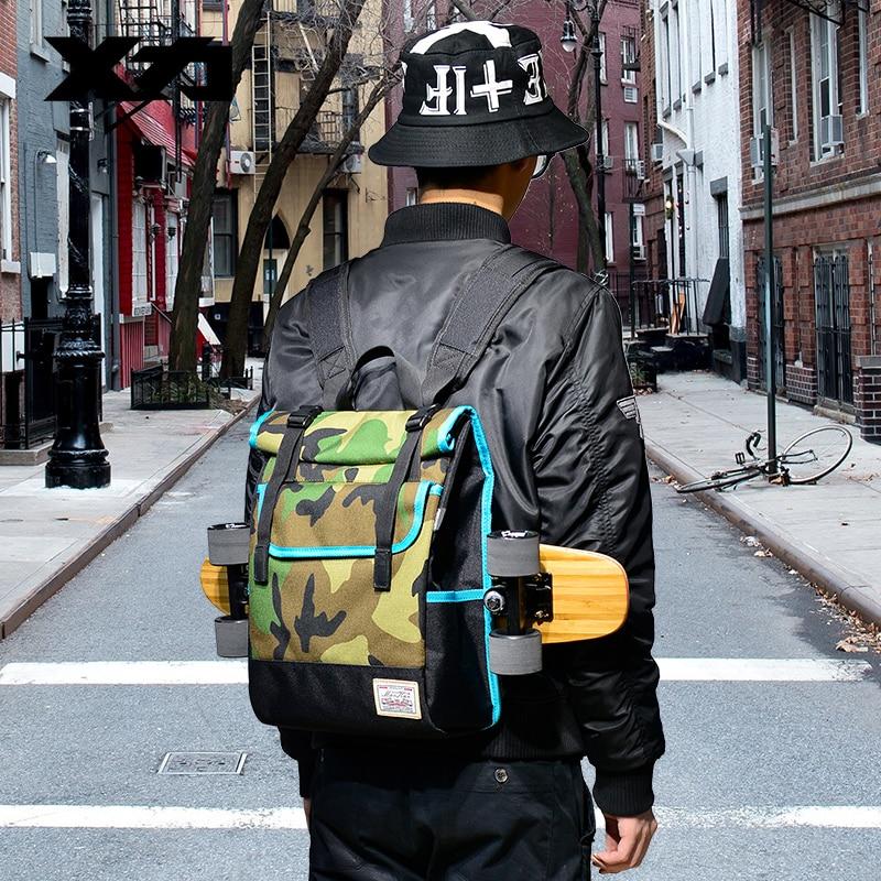 MACKAR Shoulder Skateboard Backpacks 1000D Nylon Small Longboard Bags Men Black/camouflage Street Outdoors Packsacks-in Skate Board from Sports & Entertainment