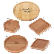 Eco-friendly Mini Bamboo Saucer Succulent Planter Pot Flower Container Bonsai Tray Holder 1Pc