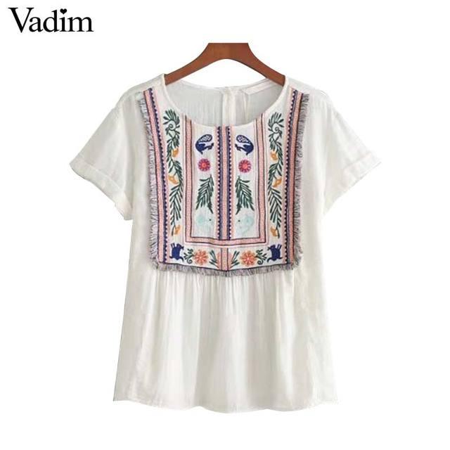 9fce01697 Vadim mujeres Vintage bordado floral borla camisas o cuello de manga corta  blusa blanca señoras casual