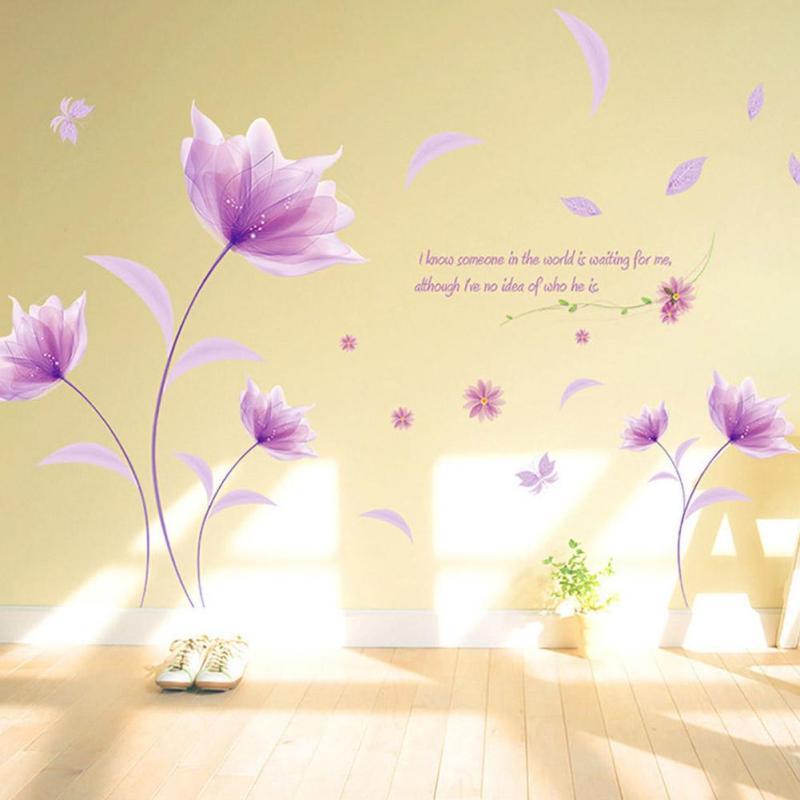 Online Get Cheap 3d Wall Flower Stickers Purple -Aliexpress.com ...