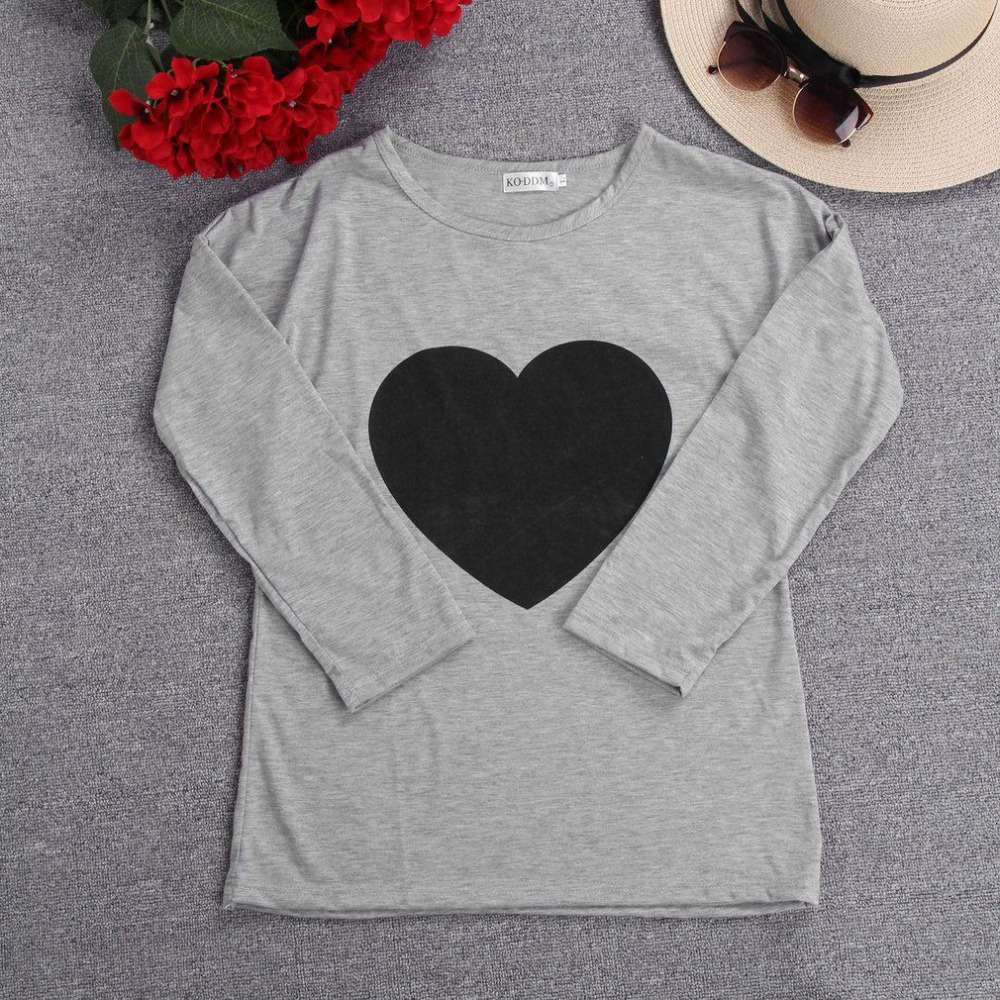 New women heart printed tops t shirts spring autumn
