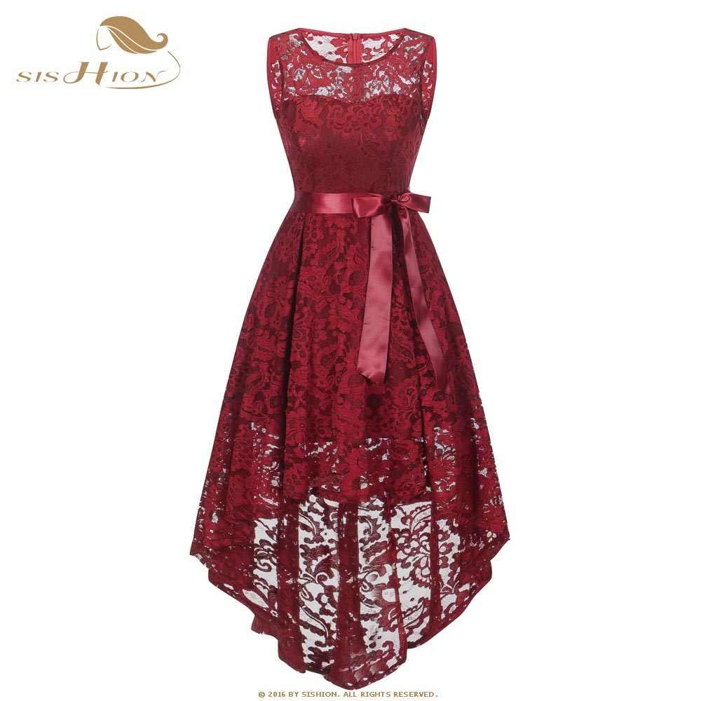 3753b6497bda7 SISHION Elegant Sexy Lace Dress Women Ladies Asymmetrical Short Front Long  Back Tunic Wine Red White Dresses VD0955