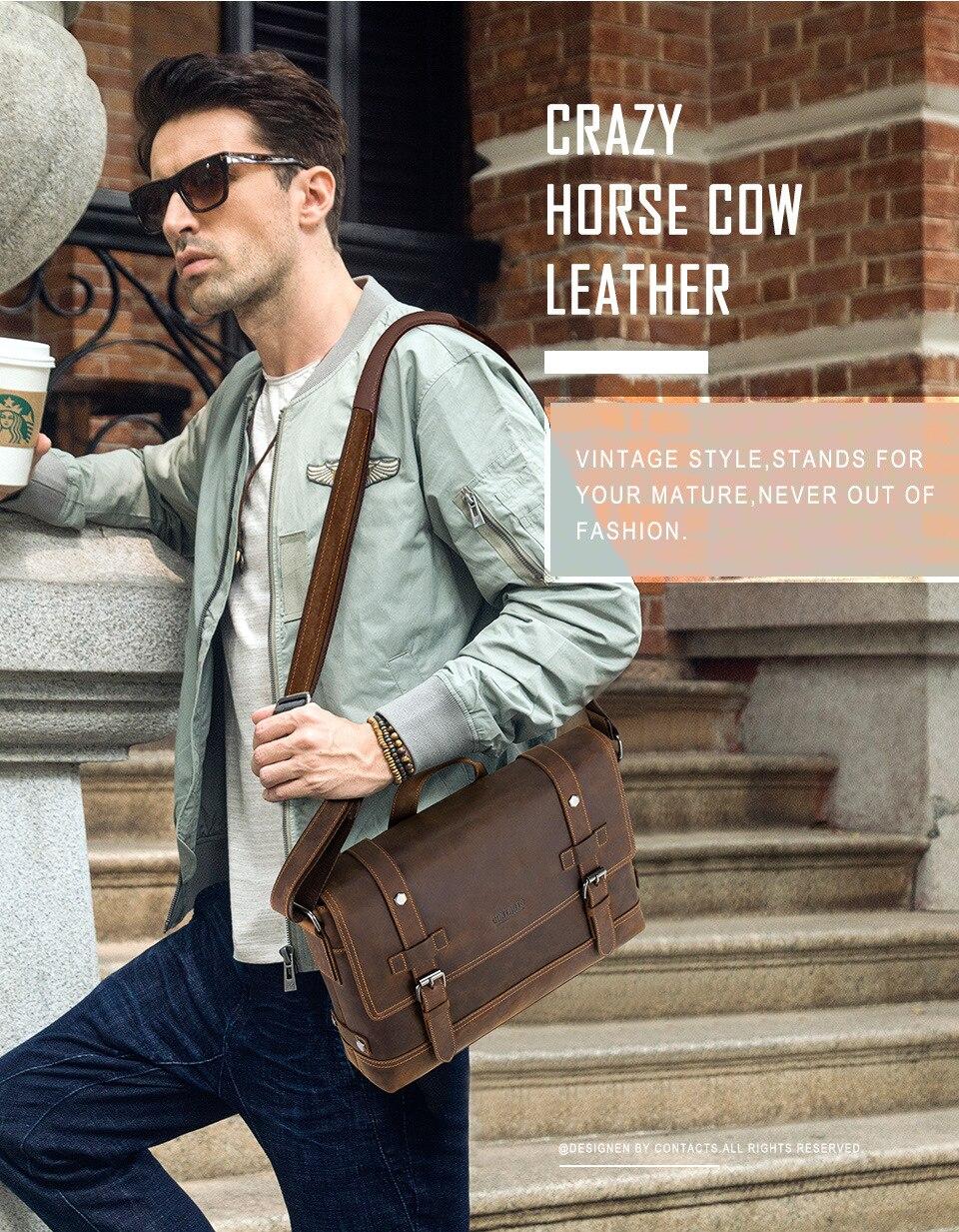 HTB1168zacrrK1RjSspaq6AREXXaN 100% Genuine Leather Briefcase Men Vintage Real Crazy Horse Leather Messenger Shoulder Business Laptop Bag Case Office Handbag