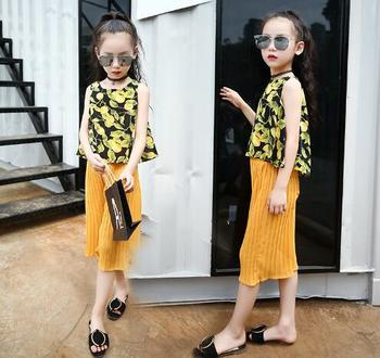 Teenage Little Girls Clothes Sets Summer Children Girls Chiffon Clothing Set Kids Sleeveless Print Tops+Pants Girls 2pcs Suit