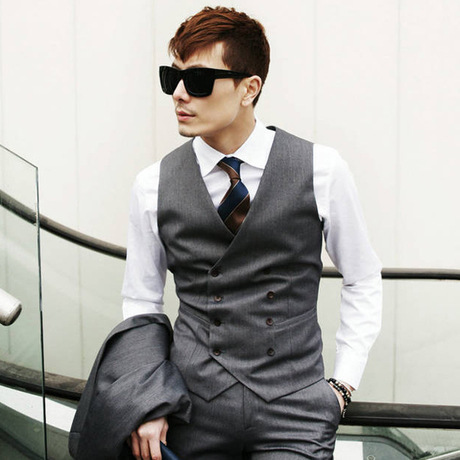 casual dress vests for men Tuxedo 3 Buttons Luxury Casual V-neck Suit Vest For Suit  Autumn Men Slim Dress Male V-neck colete