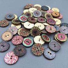 100x Смешанные винтажные Красочные цветы деревянные пуговицы для скрапбукинга и шитья Ремесло 20 мм случайный микс ручной работы одежда Декор пуговицы