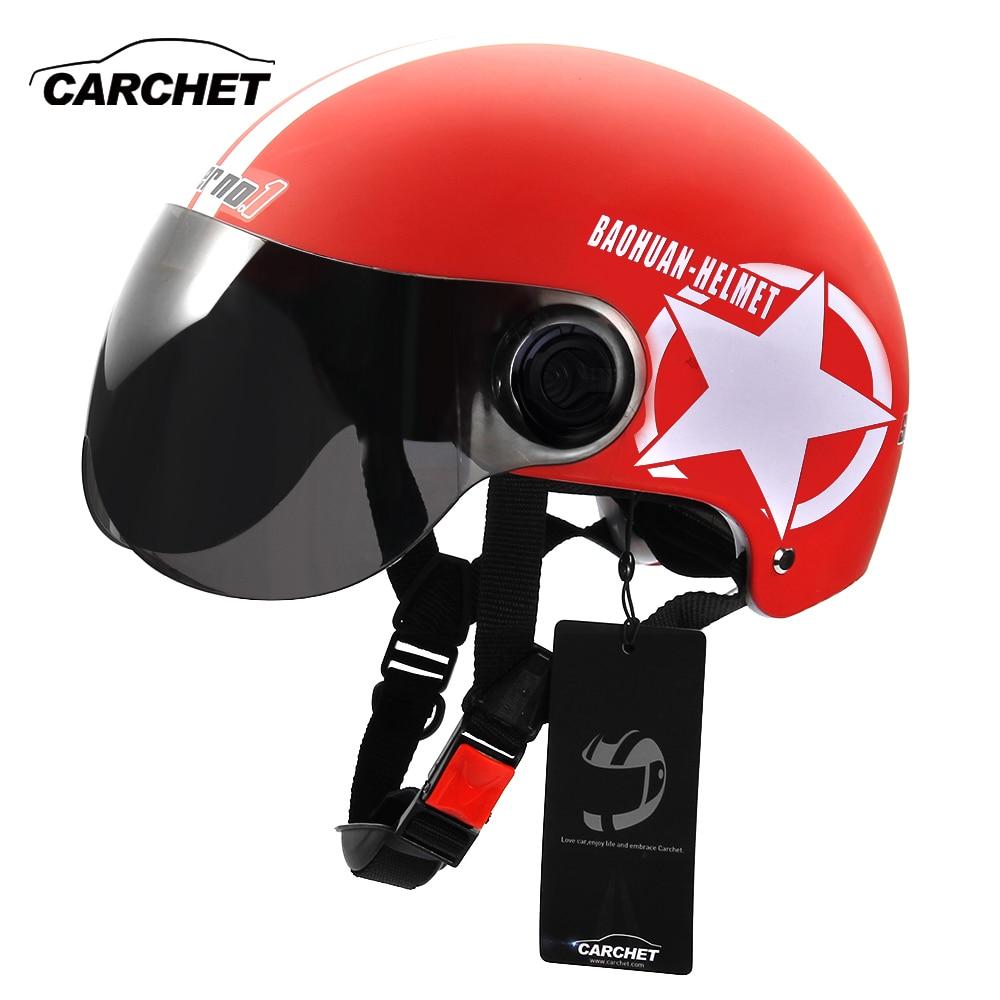 CARCHET Motorcycle Helmet Unisex Half Face Motorcycle Racing Helmet Jet Motorbike Helmet Vintage for Men Star