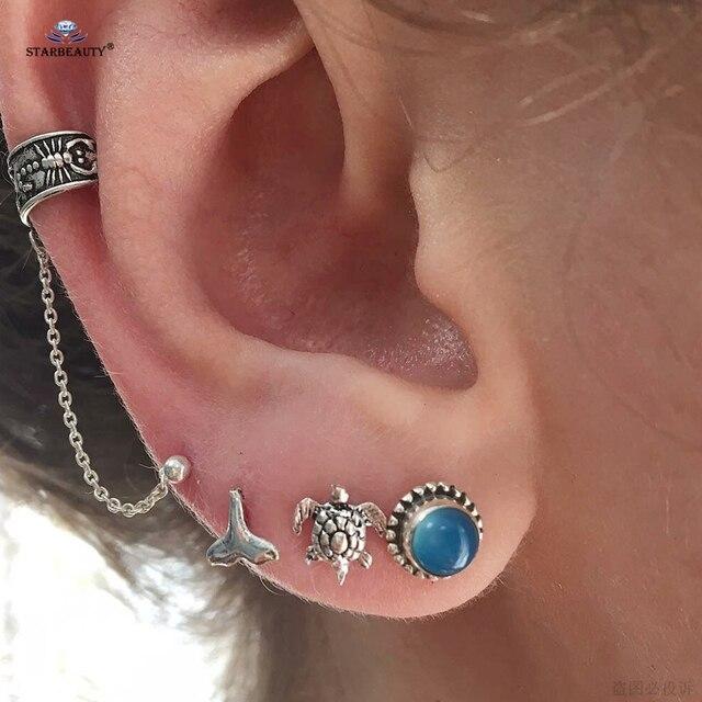 275b28468 4 pcs/lot Scorpion Sea Turtle Peace Ear Piercing Orelha Cartilagem Helix Piercing  Tragus Cartilage
