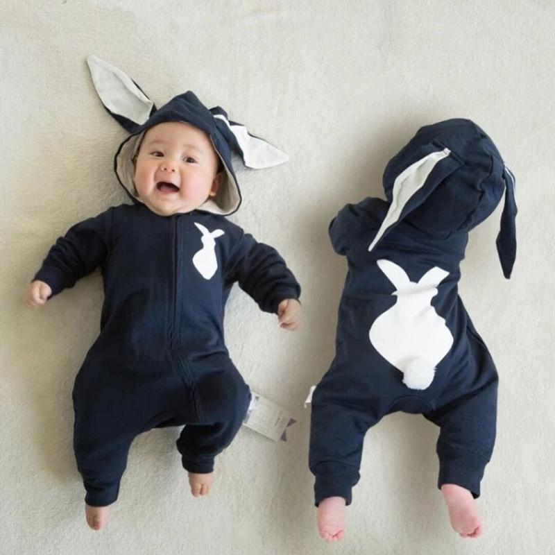 Cute Rabbit Baby Bunny Costume Overall Hooded Newborn Romper Jumpsuit Winter Warm Long Ear Toddler Casual Costumes 2017 adorable hotest toddler baby girls boys warm hat winter hooded scarf ear flap knitted cap cute gift suit for 1 3 t