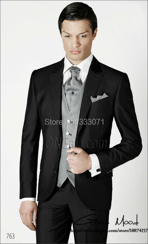 Latest Coat Pant Designs Black And Gray Slim Fit Groom Tuxedos Groomsman Men Wedding Suits Bridegroom(Jacket+Pants+Tie+Vest)