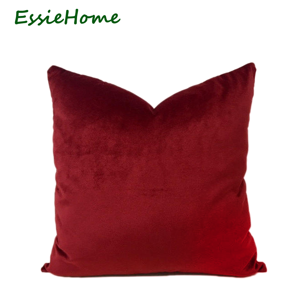 ESSIE HOME Luxury Silk Glossy Velvet Burgundy Wine Red Dark Red Velvet Cushion Cover Pillow Case Lumber Pillow Case