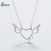 Authentic 925 Sterling Silver Necklace Cute Hollow Love Heart Devil Charm Choker Necklaces Pendants Gift Bijoux