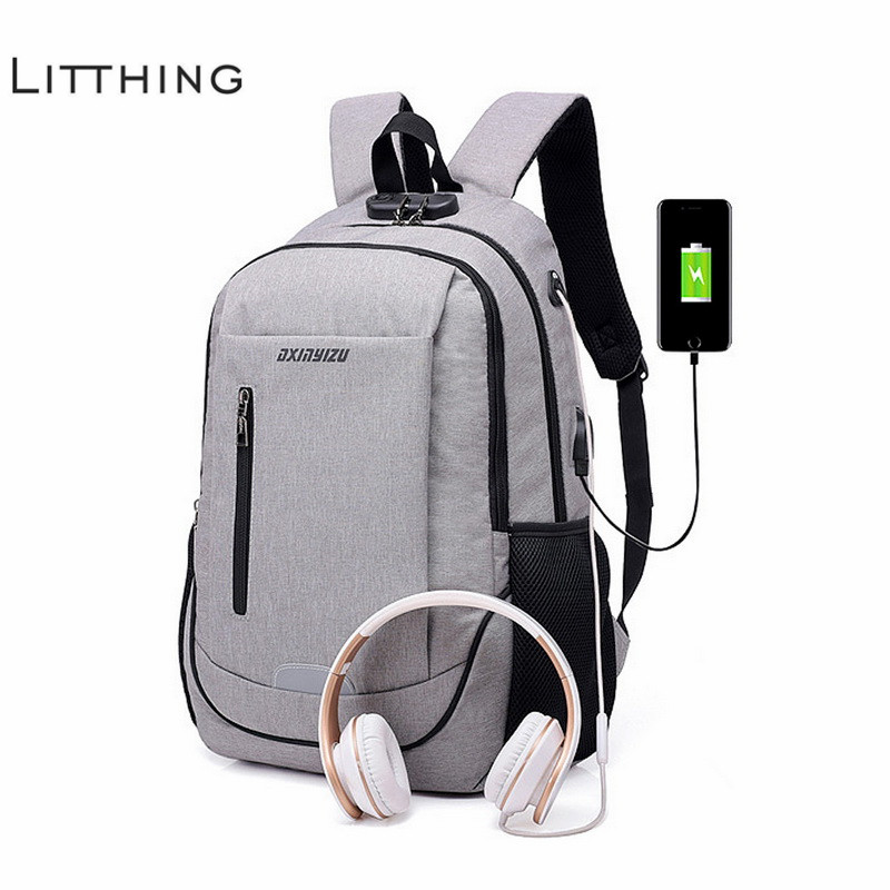 Usb Charge Headphone Backpack Men School Backbag Men's Antitheft Bagpack Oxford Travel Daypacks Teenage Bookbags For Ipad