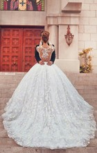 Best-selling Luxury Jewel Embroideried Beaded Pearls Long Sleeve Puffy Wedding Dresses