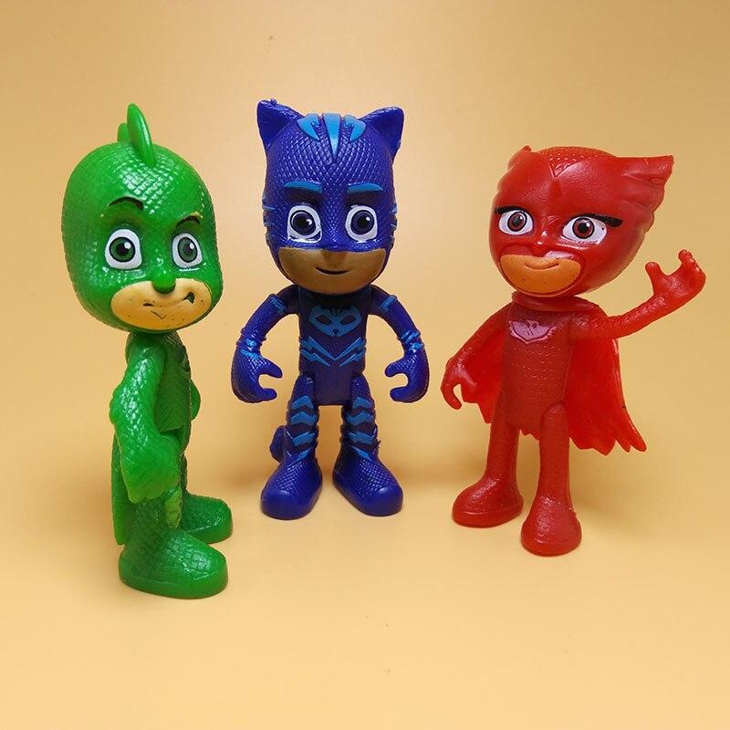 3pcs/set Cartoon Pj Figure Masks Character Catboy Owlette Gekko Anime Mask Boys Gift Toys For Children