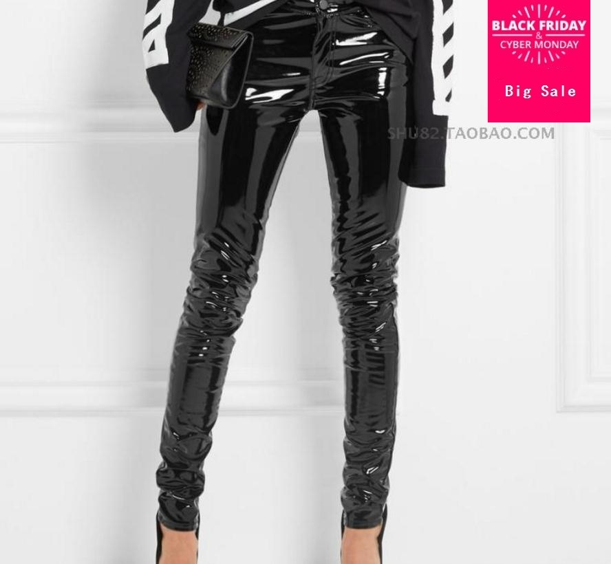 Fashion Patent Leather Pu Pants With Pocket Female 2019 Winter Was Thin High Waist Leisure Shiny Pu Leather Pencil Pants Wj1612