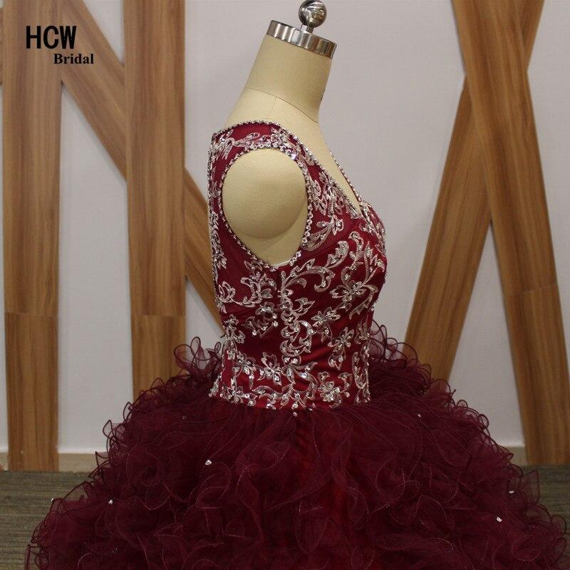 2019. aasta uus Burgundia Quinceanera kleit V-kaelusega varrukateta - Eriürituste kleidid - Foto 4