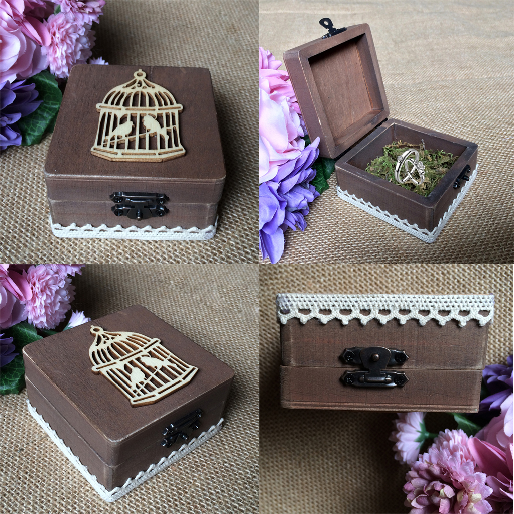Vintage Wooden Ring Box Ring Holder with Birdcage Wedding Party Ring Bearer Box Ring Storage Box Gift Boxes