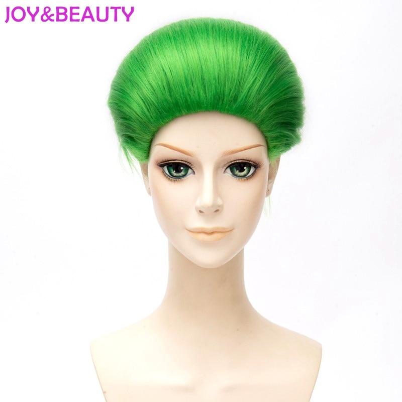 JOY&BEAUTY Jared Leto Batman Joker Green Wig 30cm Synthetic Hair Party Halloween Cosplay Costume Wig Heat Resistant Hair