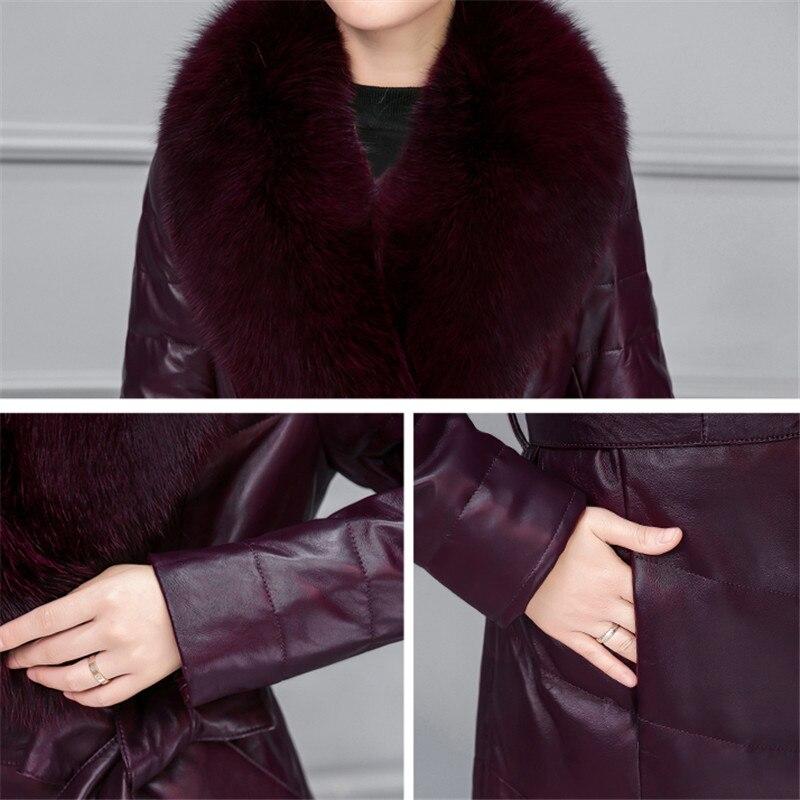 dark Renard Parkas Arc Dames Black Noir Poches Plus Purple Élégant Hiver Plumes Longue Féminin Bureau Nouveau Femmes Manteau 2018 Taille Ld519 Coton npORAw
