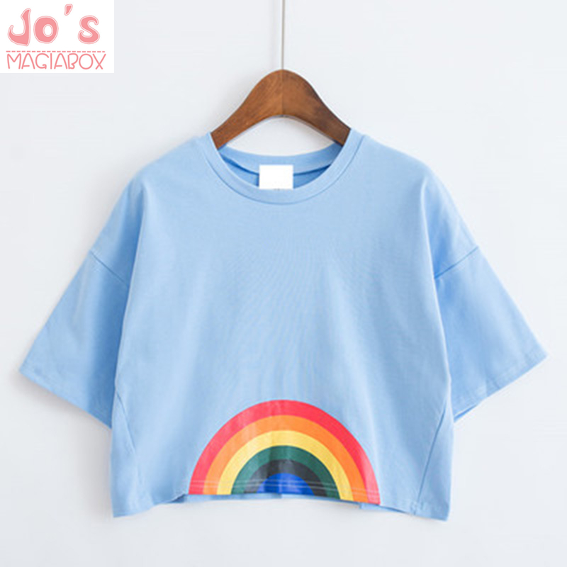 2017 Cartoon Kawaii harajuku tshirt women clothing love printed Shirt Rainbow dog Cat Floral cute t-shirt women top Tee unicorn