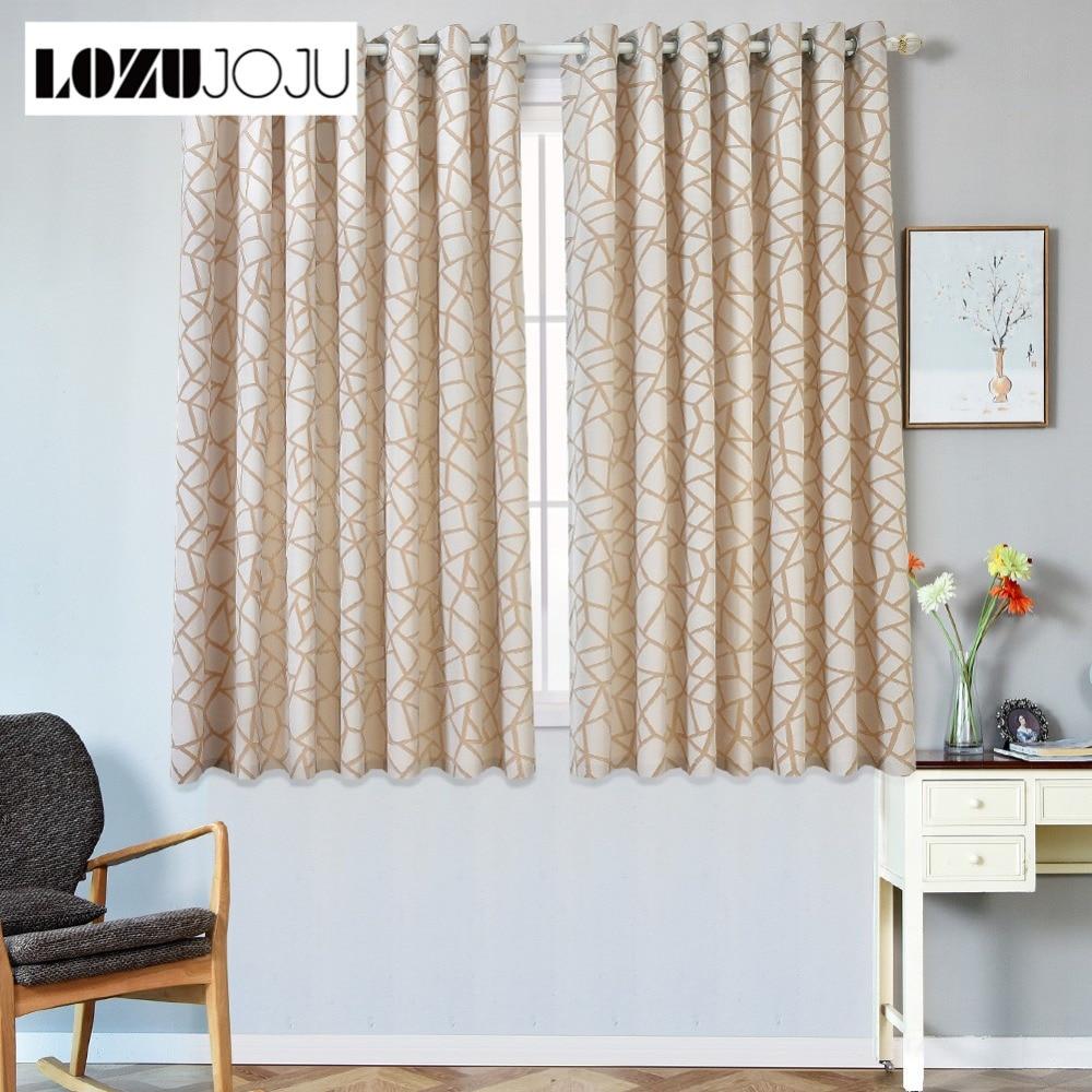 LOZUJOJU Plaid Jacquard Curtains For Bedroom Short
