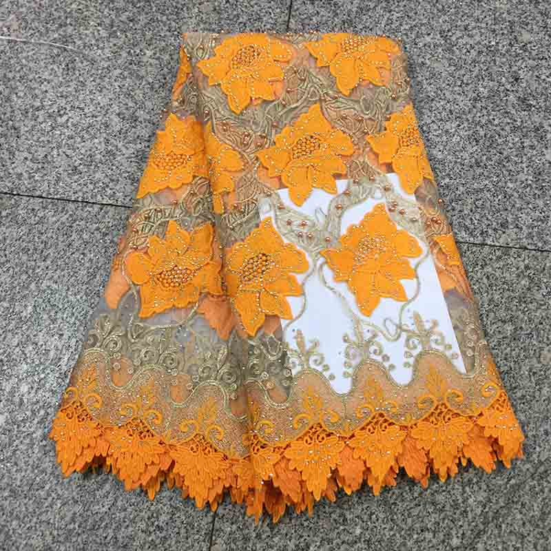 Orange 2018 Latest Design French Nigerian Guipure Lace Fabric High Quality Tulle African Laces Fabric Wedding