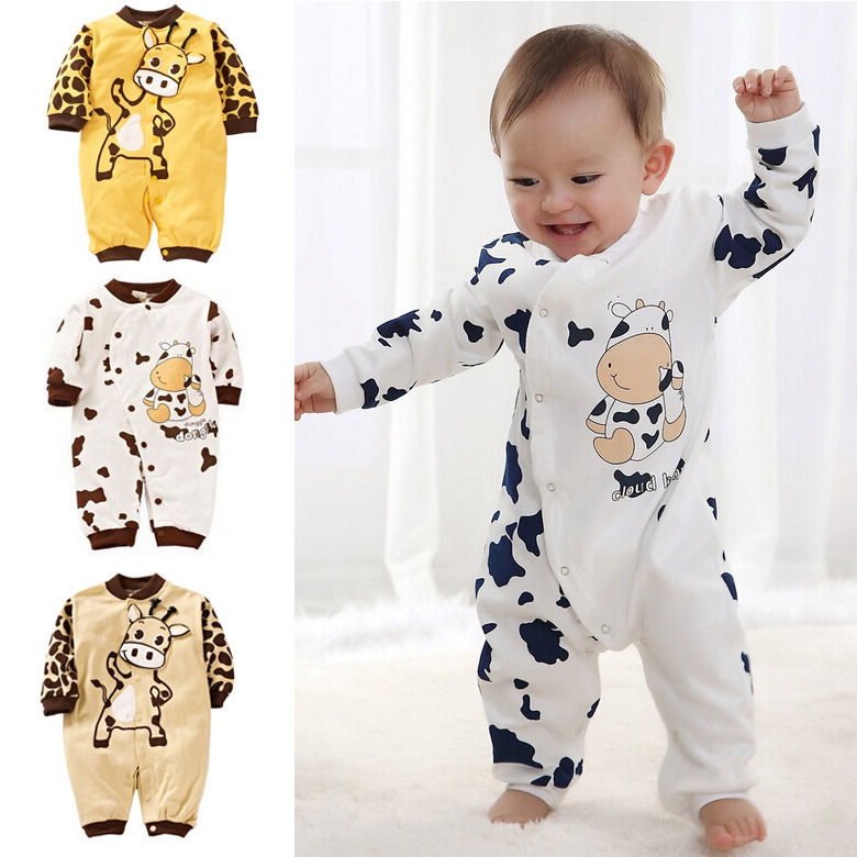 Newborn Girl Boy Rompers Cows Cute Clothes Baby Clothes Infant Girl Boys Romper Clothing 0-24M Gift cute newborn infant baby boy girl clothes short sleeve print baby romper receiving blanket headband 3pcs kids clothing set