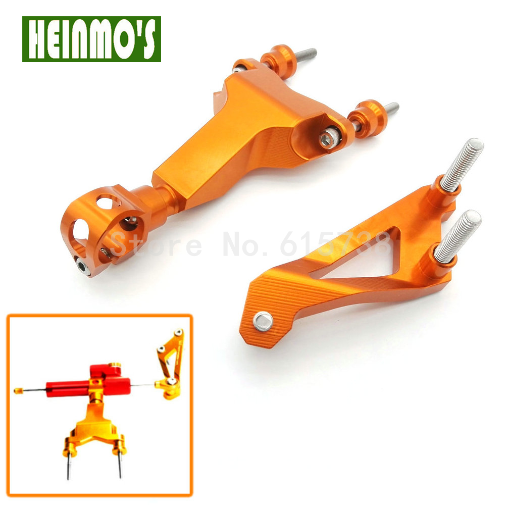 1 set  Aluminum Alloy Steering Damper Bracket Kit For KTM DUKE 125/200/390 Orange Motorcycle Modified parts for ktm 200 duke 2013 2014 390 duke 2014 2015 2016 motorcycle accessories steering damper stabilizer with mounting bracket kit