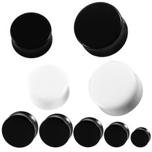 1 par acrílico preto e branco orelha plugues túneis expansor de orelha maca piercing jóias do corpo brinco