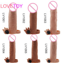 Lovetoy TPE extender penis ring sleeve enlargement electric cock rings with bullet vibrator realistic penis sex toy for man