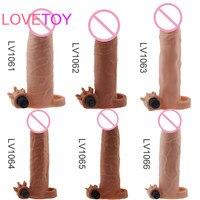 Lovetoy TPE Extender рукавом увеличение Электрический пенис рукав с Пуля Вибратор реалистичные пенис секс-игрушки для взрослых человек секс-игрушки
