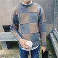 2016 New Arrival Men's Plaid Sweater Autumn Fashion Pullover Sweater Men High Quality Knitted Mens Sweaters And Pullovers XXL
