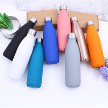 Solid Color Water Bottle 500ml Rose Gold Thermos Double Wall Stainless Steel Insulated Vacuum Drink Portable Hiking Cup