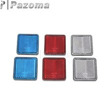 Pazoma 1 Pair Motorcycles ATV Plastic Blue Red White Square Reflector Safety Warning Dirt Bikes Trailer(China)