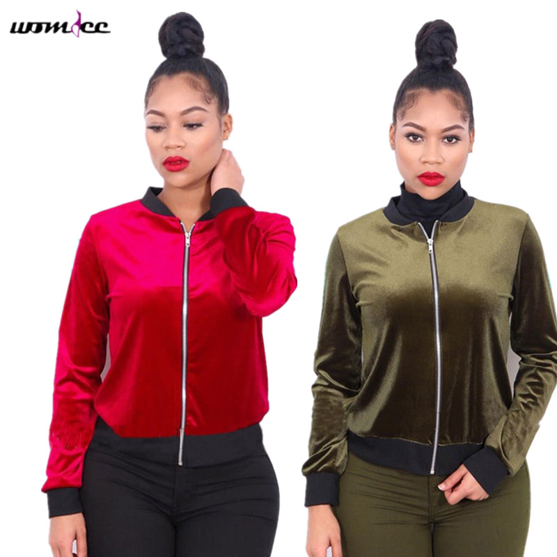 2017 Autumn Velvet Jackets Women Bomber jacket Full sleeve Short style Coat jaqueta feminina Army Green Silver Red Casaco