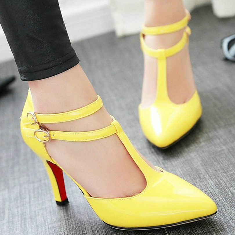 Size 39 Summer Sexy Black Pink Woman Pumps Party Yellow T strap ...
