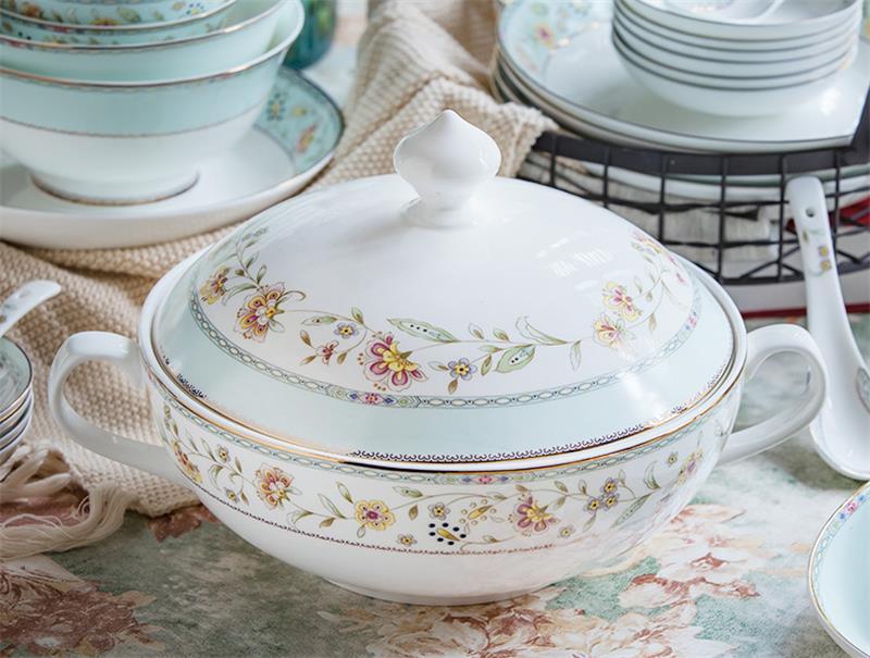 9 Inch Bone China Floral Soup Tureen Porcelain Food