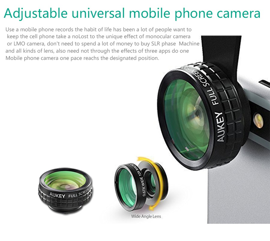AUKEY Fish eye Lens 3in 1 Clip-on Cell Phone Camera 180 Degree Fisheye Lens+Wide Angle+Macro Lens for iPhone 7Plus Xiaomi & More 9